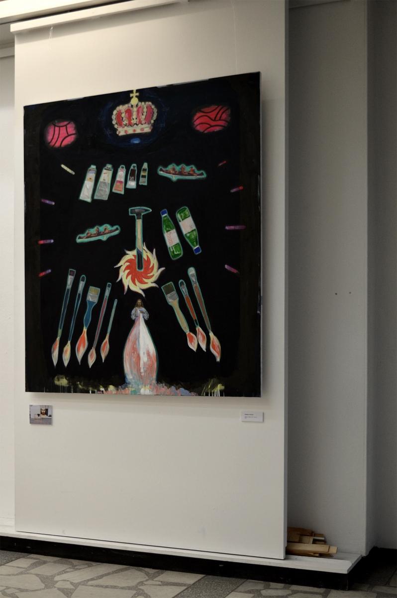 Herbas tapybai, 150 x 130 cm, aliejus, drobė, 2017_instaliacinis vaizdas